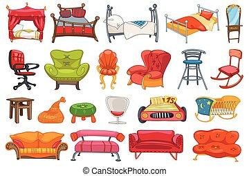muebles, vector, conjunto, illustrations.