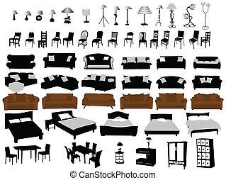 muebles, y, iluminación