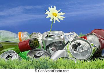 muell, concept., umwelterhaltung, gänseblumen, wachsen