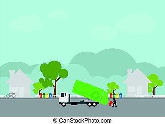 muell, transport, lastwagen, auslieferung