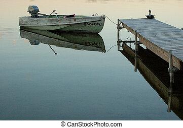 muelle, barco, fila