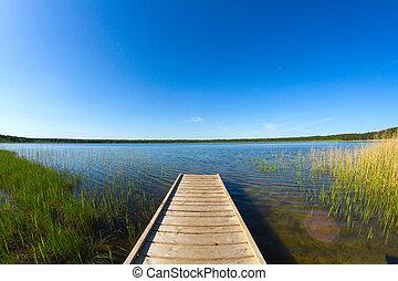muelle, en, el, lago