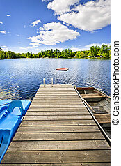 muelle, en, lago, en, verano, cabaña, país