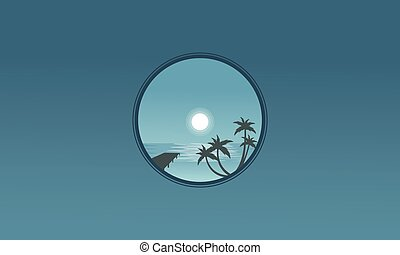 muelle, y, palma, paisaje, por la noche, siluetas