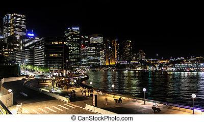 muelle, zona comercial, sydney, noche, central, circular, vista
