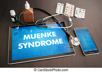 Muenke syndrome (genetic disorder) diagnosis medical concept on tablet screen with stethoscope