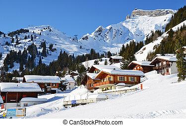 muerren, известный, швейцарский, горнолыжный спорт, курорт