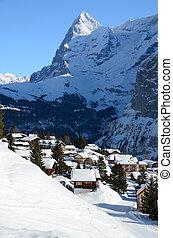 muerren, famoso, suizo, esquí, recurso
