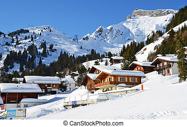 muerren, híres, svájci, síelés, erőforrás