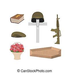 muerte, de, un, militar, veteran., soldado, funeral, accessories:, ametralladora, y, soldados, badge., cruz, ataúd, y, bible., grande, cesta, de, rojo, roses., vector, conjunto, de, pena, de, día conmemorativo