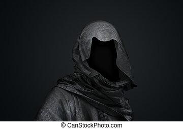 muerte, en la capucha, concepto
