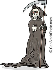 muerte, esqueleto, ilustración, caricatura