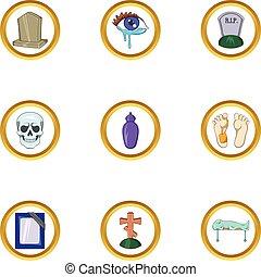muerte, icono, conjunto, caricatura, estilo