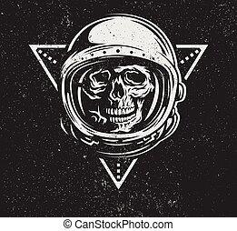muerto, astronauta, en, spacesuit.