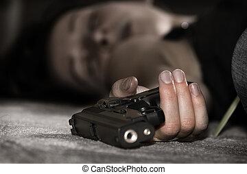 muerto, con, arma de fuego