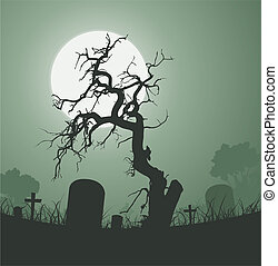 muerto, fantasmal, halloween, árbol, cementerio