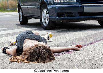 muerto, mujer, acostado, en, un, calle