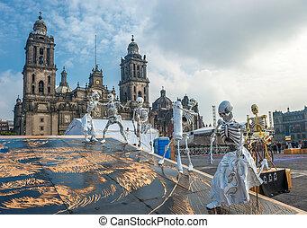muertos, város, mexikó, ellen-, dia, holt, elszabadult, nap