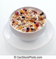 muesli, śniadanie, owoc, orzechy laskowe, zachwycający