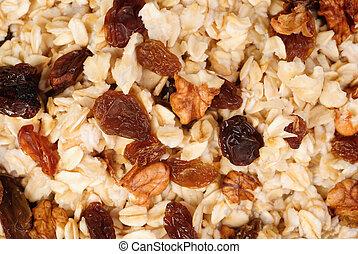 Muesli background, fine food texture