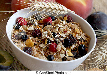 bowl of muesli with raisins and berry fruits, healthy breakfast rich in fiber