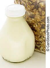 muesli cereal pack with pint glass milk bottle