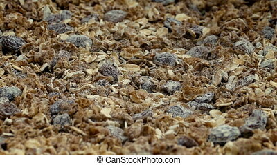 Muesli Cereal Rotating Closeup - Closeup shot of muesli...