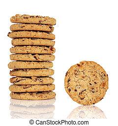 Muesli Cookies - Muesli cookies in a stack with one alone,...
