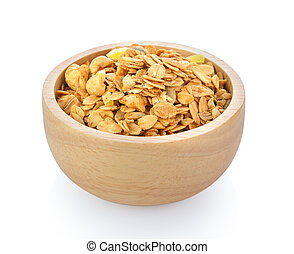 muesli in bowl isolated on white background
