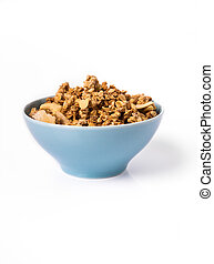 Muesli in bowl on white background