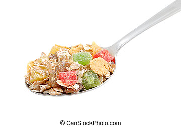 Muesli in spoon isolated on white background