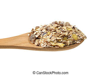 muesli in the spoon on white background