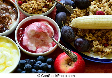 muesli, jogurt, owoc, zboże