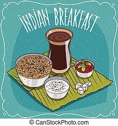 muesli, pequeno almoço, indianas, ou, oatmeal