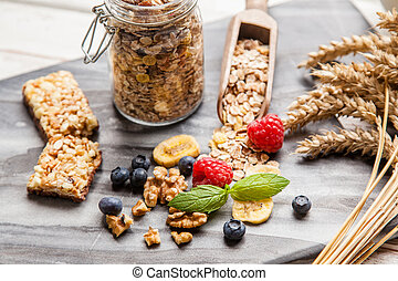 Muesli with berries - Healthy breakfast - muesli with...