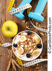 muesli with dairy and fruit, healthy lifestyle