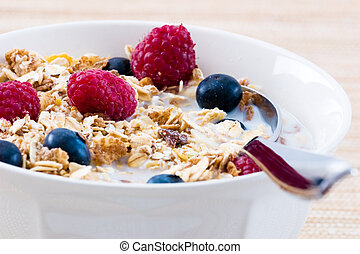 Breakfast Series - Close-up of a bowl of Muesli cereal with Raspberries and Blueberries