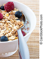Muesli with Raspberries and Blueberries - Breakfast Series -...