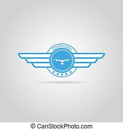 muestra azul, alas, vector, quadrocopter