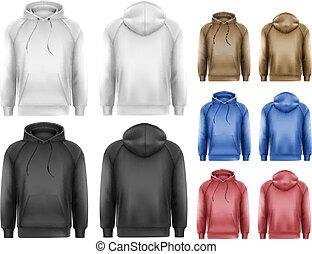 muestra, conjunto, hoodies, colorido, tex, negro, blanco...