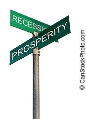 muestra de la calle, con, financiero, términos