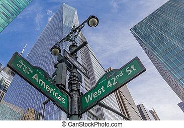 muestra de la ciudad, calle, york, nuevo, intersección
