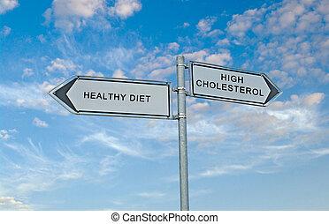 muestra del camino, a, sano, diaet, y, colesterol alto