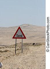 muestra del camino, advertencia, contra, arena, en, namibia