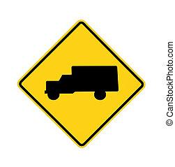muestra del camino, -, camiones, cruce