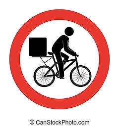 muestra del camino, con, hombre de entrega, en, bicicleta