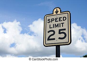 muestra del camino, límite de velocidad, 25, millas