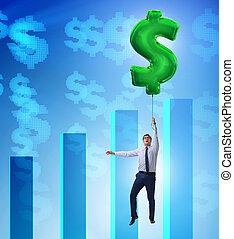 muestra del dólar, hombre de negocios, encima, vuelo, ...