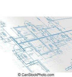 muestra, planos, arquitectónico