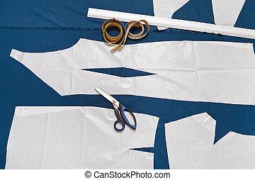 muestra, sastre, herramientas, papel, ropa